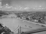 Aerial View of the Danube River with Three Bridges across it in the City Premium Photographic Print by Margaret Bourke-White