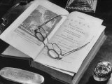 Open Pages of an Old Book, Held Down by a Pair of Steel-Rimmed Spectacles at Mt. Pleasant Premium Photographic Print