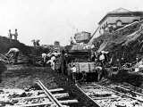 Workers Excavating Site of Northern Railway Premium Photographic Print