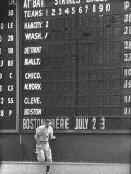 Scoreboard at Griffith Stadium During Game Premium Photographic Print