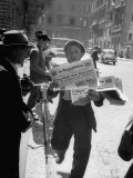 Newsboy Selling Fresh Edition of Paper with Election Results Premium Photographic Print by Dmitri Kessel