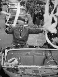 Dwight D. Eisenhower Greeting a Passing Crowd from During His 1952 Campaign Premium Photographic Print