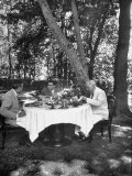 W. Averell Harriman and Henry Grady Having Lunch with Shah Reza Pahlevi Premium Photographic Print by Dmitri Kessel
