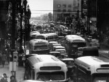 Traveling Through Rush Hour Traffic in Downtown Los Angeles Premium Photographic Print by Loomis Dean