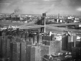 New Housing Project with the Manhattan Bridge in the Bckgrd. on the East Side of the City Premium Photographic Print by Margaret Bourke-White