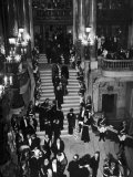 Concert-Goers Milling About on Grand Staircase of the Paris Opera House Photographic Print