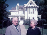 Former President Harry S Truman W. His Wife Bess Outside their Independence Home, Photographic Print