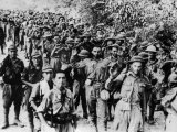 Allied Prisoners Marching Alongside Japanese Captors after the Fall of Corregidor During WWII Premium Photographic Print