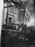 Argentine's Grieving over Wreckage of Catholic Church Burned During Uprising Against Peron Premium Photographic Print