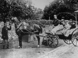 Charles Dickens and His Two Daughters Riding in a Basket Phaeton Premium Photographic Print