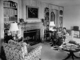English Novelist and Dramatist with Somerset Maughm Reading in Room of Home Premium Photographic Print by Alfred Eisenstaedt
