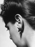 Woman Wearing Earrings Shaped as Ducks Premium Photographic Print
