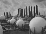 Huge White Spheres of Storage Tanks and Tube-Like Tanks Standing in the Synthetic Rubber Plant Premium Photographic Print by Dmitri Kessel