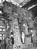 Men Working on 2500 H.P. Triple-Expansion Hendy Engine Soon to Be in Service Powering Liberty Ship Premium Photographic Print