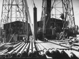California Oil Co. Drilling Operations on Derrick Off Louisiana Coast Photographic Print by Margaret Bourke-White