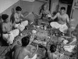 Group of Brahmins Performing Hindu Ceremony of Changing the Sacred Thread Premium Photographic Print by Margaret Bourke-White