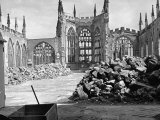 Ruins of Coventry Cathedral after Bombing by Germans During WWII Premium Photographic Print