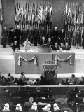 US President Harry Truman Speaking from Podium at Official Signing of United Nations Charter Premium Photographic Print