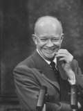 President Dwight D. Eisenhower at Press Conference Premium Photographic Print