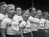 The Y.M.C.A. Choirboys Singing for an Audience are a Product of Y Youth Programs Premium Photographic Print by Ralph Crane