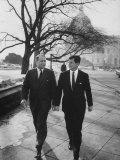Aide John C. Culver Walking with Sen. Edward M. Kennedy Premium Photographic Print by John Dominis