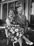 Former President Dwight D. Eisenhower and Wife Mamie on Lawn at Home Premium Photographic Print by Ed Clark