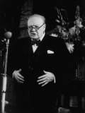Winston Churchill Giving Speech at Tory Rally During British Election Campaign Premium Photographic Print