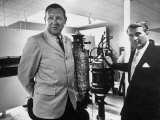 Dr. Werner Von Braun and Paul Horgan with a Piece from the Goddard Rocket Collection Premium Photographic Print by J. R. Eyerman