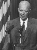 President Dwight D. Eisenhower Speaking at a Press Conference Premium Photographic Print by Ed Clark