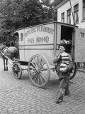 Baker with Horsedrawn Cart, Hauling Loaves Premium Photographic Print by Dmitri Kessel