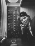 Stewardess Using Telephone on Board Soviet Passenger Plane Premium Photographic Print