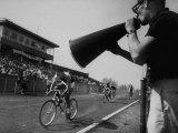 """Young Men Racing in De Pauw University's """"Little 500"""" Bike Race Premium Photographic Print"""