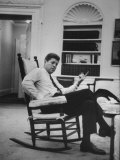 Pres. John F. Kennedy Sitting in Rocking Chair Photographic Print