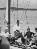 Pres. John F. Kennedy Sailing with Sen. Edmund S. Muskie Photographic Print