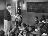 African-American Teacher and Children in Segregated School Classroom Photographic Print