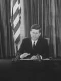 Pres. John F. Kennedy at White House Broadcasting Nationwide Speech on Berlin Crisis Photographic Print by Ed Clark
