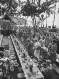 Hawaiian Banquet for Students of Summer School Premium Photographic Print by Ralph Crane