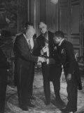 Pres. Dwight Eisenhower with Felix Houphouet-Boigny and Charles Degaulle at Reception for Himself Premium Photographic Print by Ed Clark