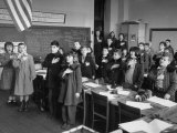 School Children Wearing Coats Against the Cold and Saying the Pledge of Allegiance Premium Photographic Print