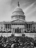 Pres. Lyndon B. Johnson Taking Oath of Office During Inauguration Ceremonies Premium Photographic Print by John Dominis