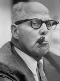 Head of Afl-Clo Labor Federation George Meany Smoking Cigar During Convention Premium Photographic Print by Ed Clark