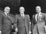 Goodwin Knight, Pres. Dwight D. Eisenhower and William Knowland During Campaign Tour of California Premium Photographic Print by Ed Clark