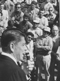 Gov. of California, Ronald W. Reagan, Campaigning for Re-Election before an Intent Crowd Premium Photographic Print by Ralph Crane