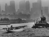 America's Cup Contender Sceptre Being Towed Up the East River Photographic Print