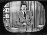 "Richard M. Nixon Making Famous ""Checkers"" Speech on Television During the Fund Controversy Premium Photographic Print"