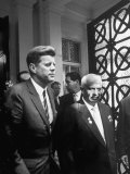 US Pres. Kennedy and Soviet Ldr. Khrushchev Leaving Soviet Embassy at Close of Summit Talks Premium Photographic Print by James Whitmore