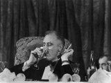Pres. Franklin Roosevelt Drinking Wine and Smoking a Cigarette During the Jackson Day Dinner Photographic Print