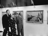 Dwight D. Eisenhower and His Wife Viewing Winston Chruchill Exhibit at the Smithsonian Premium Photographic Print by Ed Clark