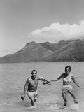 Two People on the Beach in Paradise Island, Tahiti Premium Photographic Print by Carl Mydans
