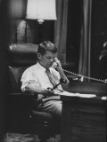 Attorney Gen. Robert F. Kennedy in His Office at Night Premium Photographic Print